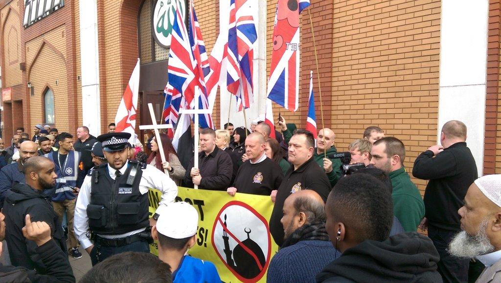Britain first east london mosque