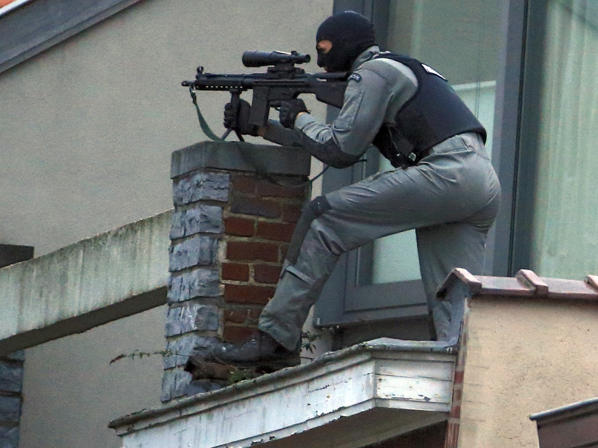 A masked Belgian policeman