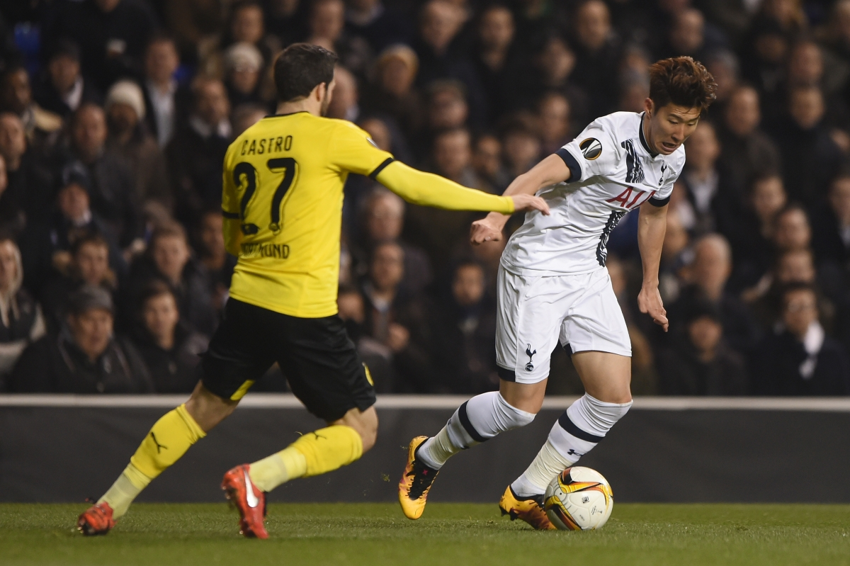 Son Heung-min dribbles with the ball