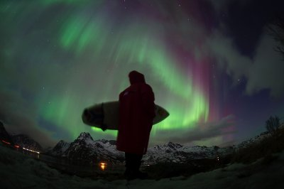 Norway Arctic Surfing Northern Lights
