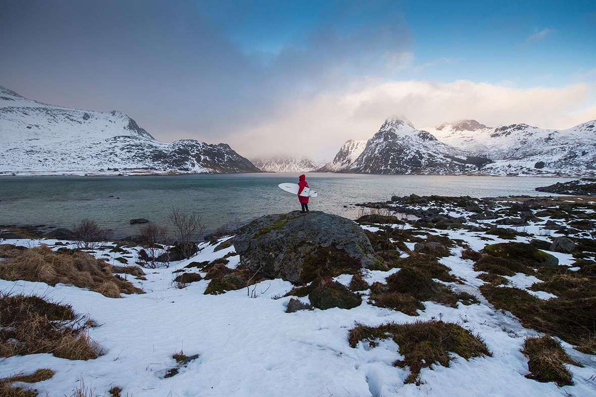 Norway Arctic Surfing Northern Lights