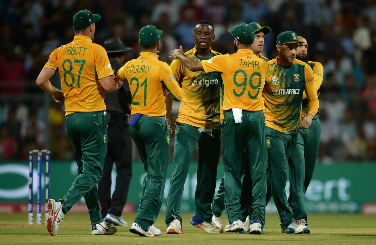South Africa's players celebrate
