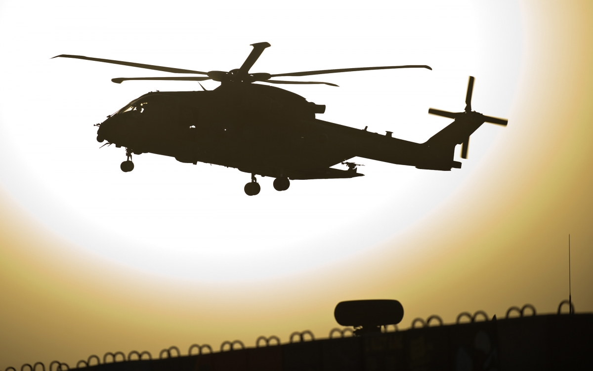 A military helicopter