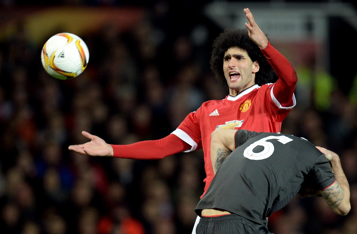 Marouane Fellaini clashes with Lovren