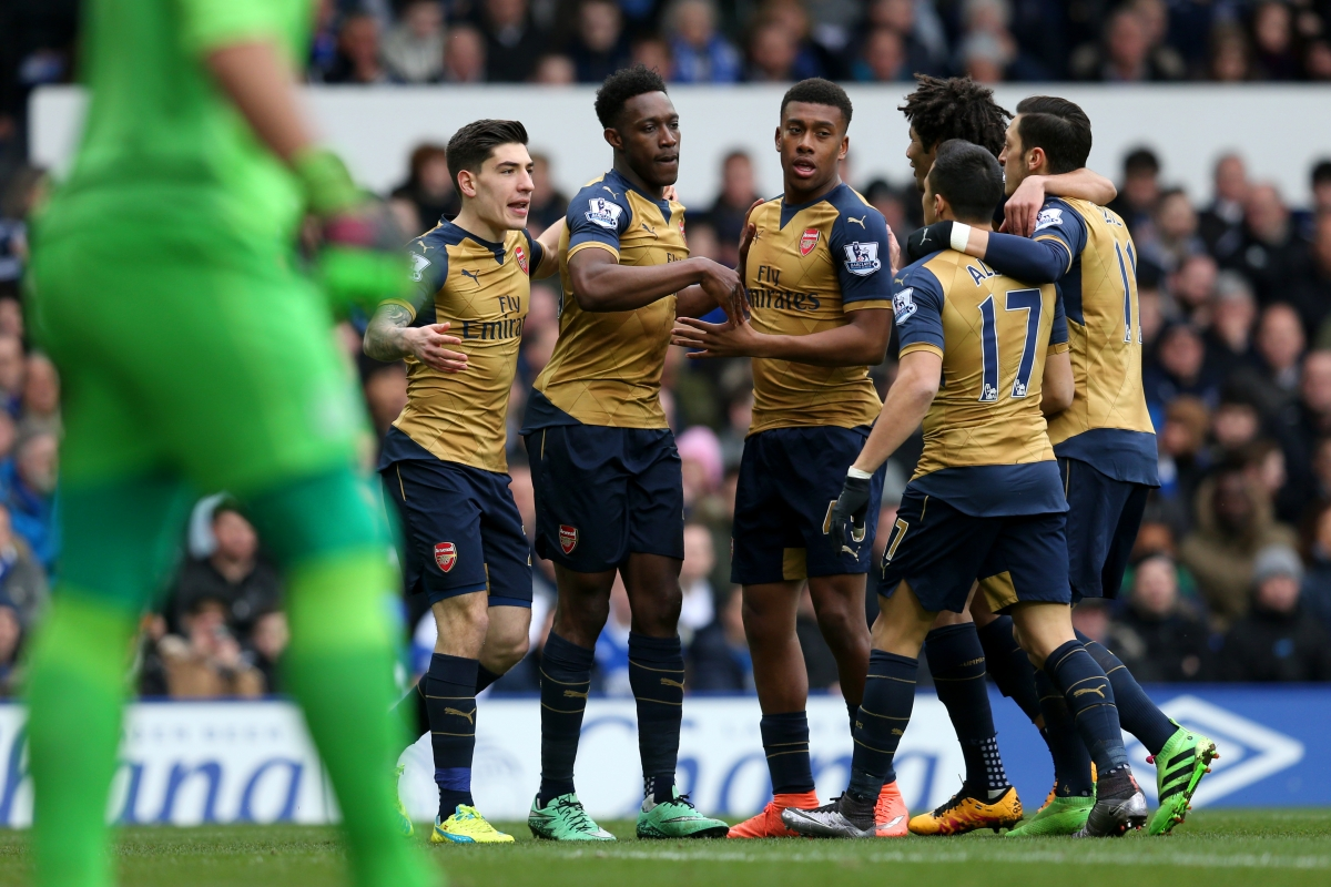 Arsenal players celebrate their goal