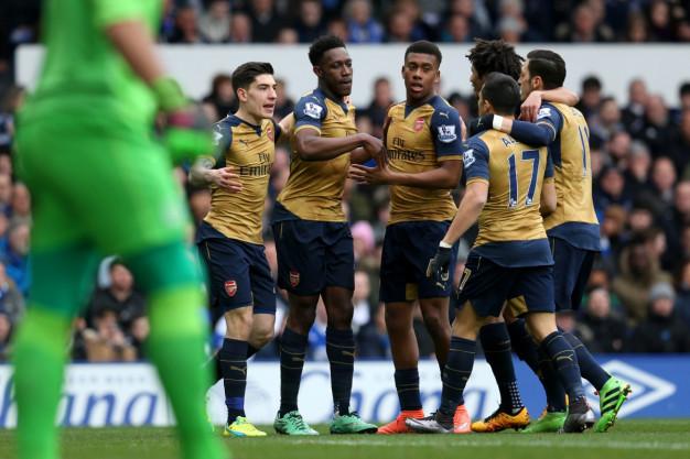 Arsenal players celebrate their goal