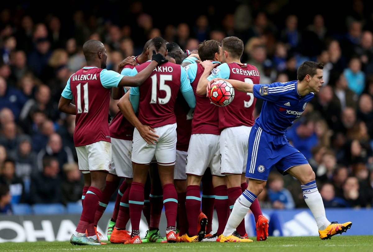 West Ham players celebrating their goal