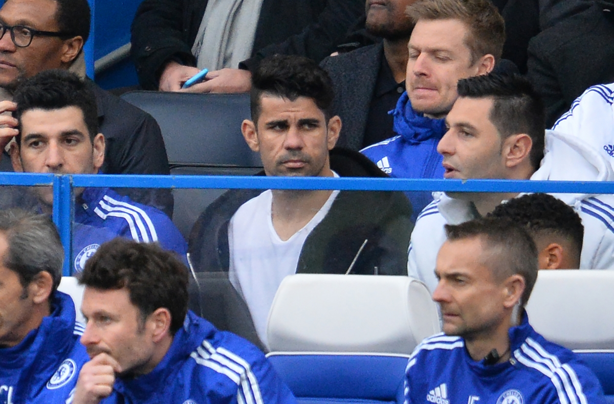 Diego Costa watches from the sidelines