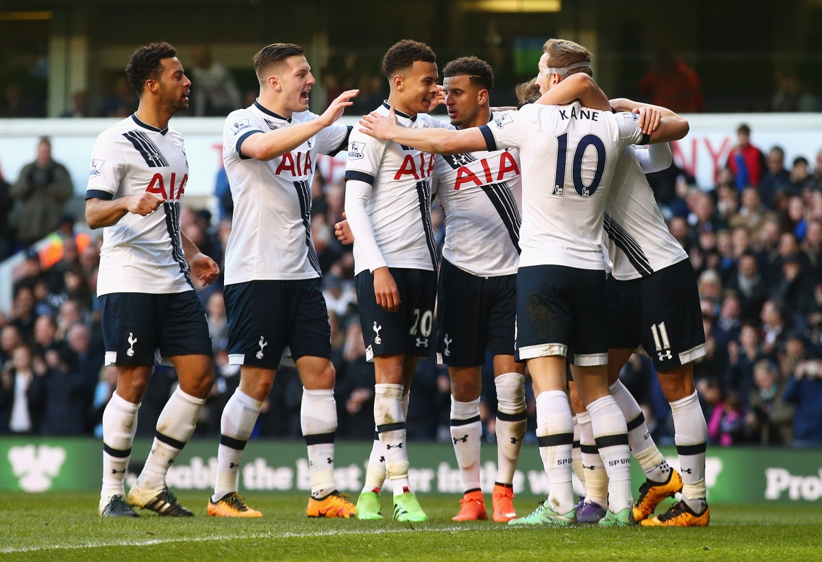 Spurs celebrate their third goal