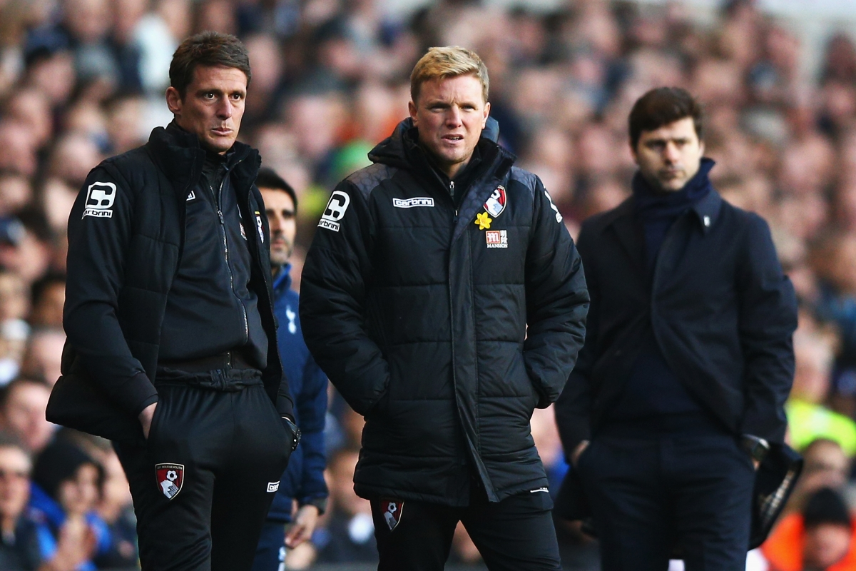 Eddie Howe (centre) looks frustrated