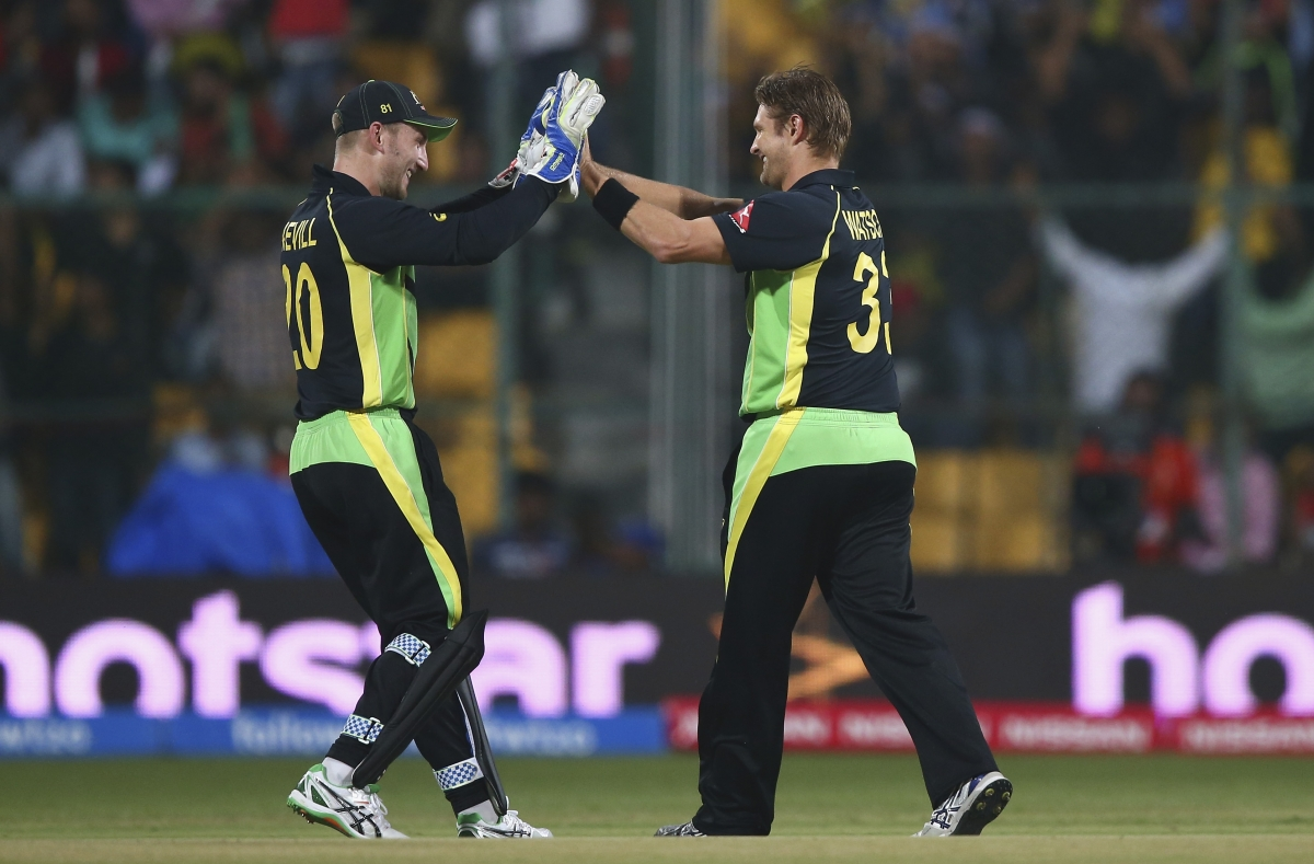 Shane Watson celebrates the wicket