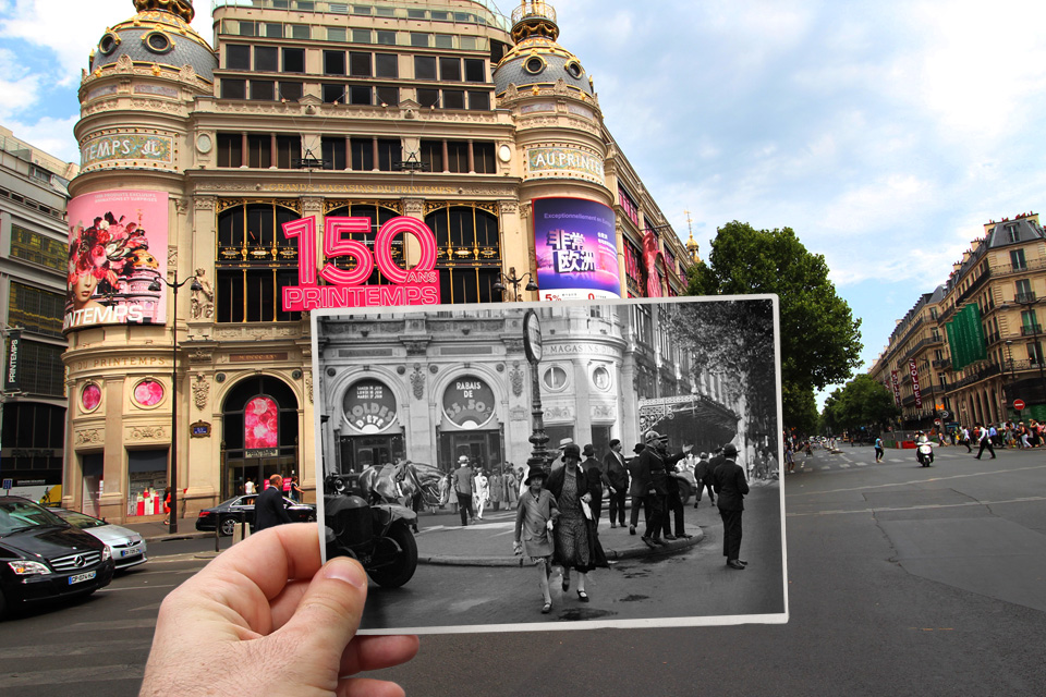 Paris past and present: Old photos of French capital superimposed on the same scenes today