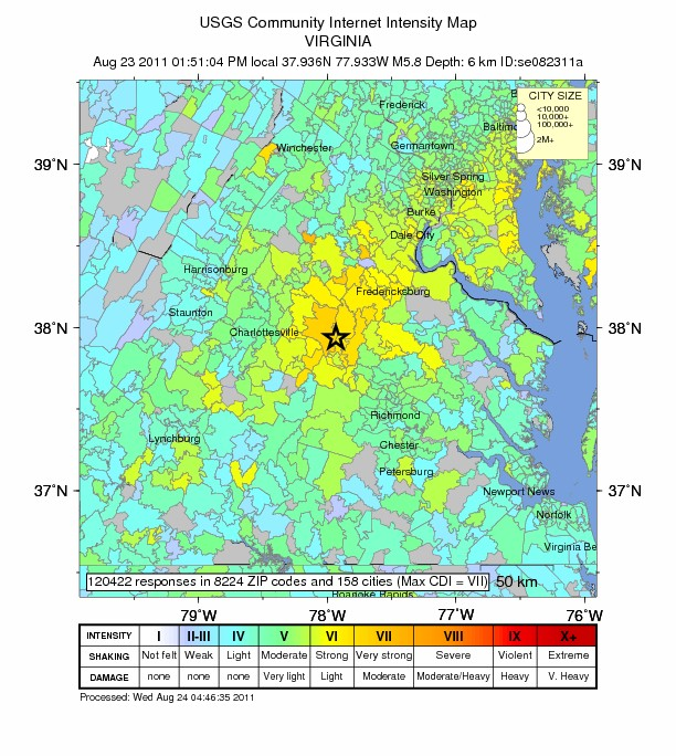 Intensity Map of the Magnitude 5.8 Virginia 2011 August 23 Earthquake. Credit: USGS