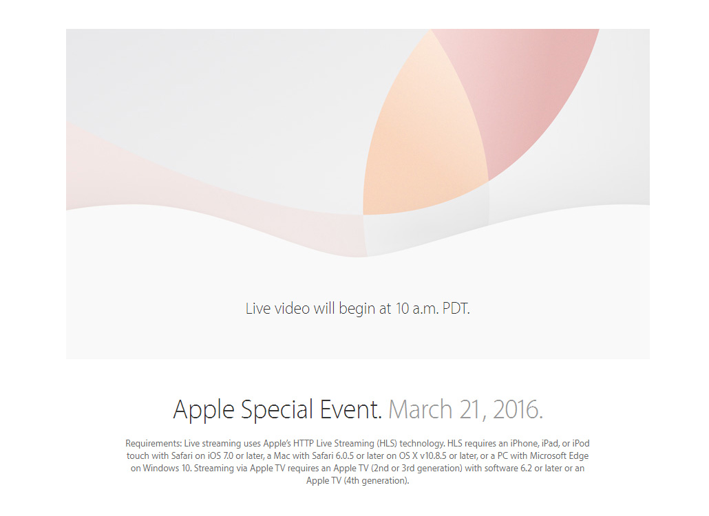 Apple Special Event 21 March 2016