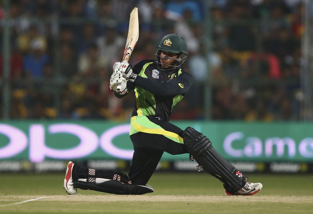 Usman Khawaja looks for the boundary