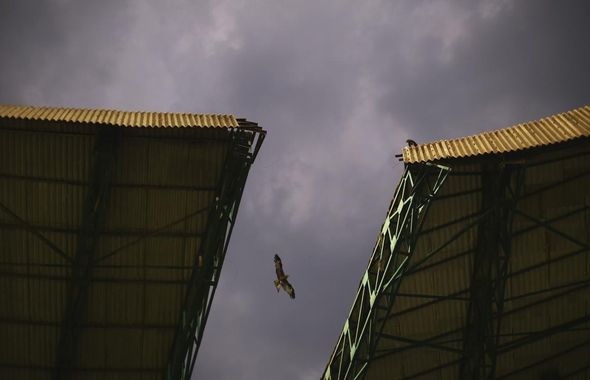 The scene above the stadium in Bangalore