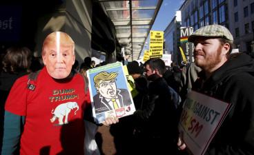 Donald Trump protesters at AIPAC