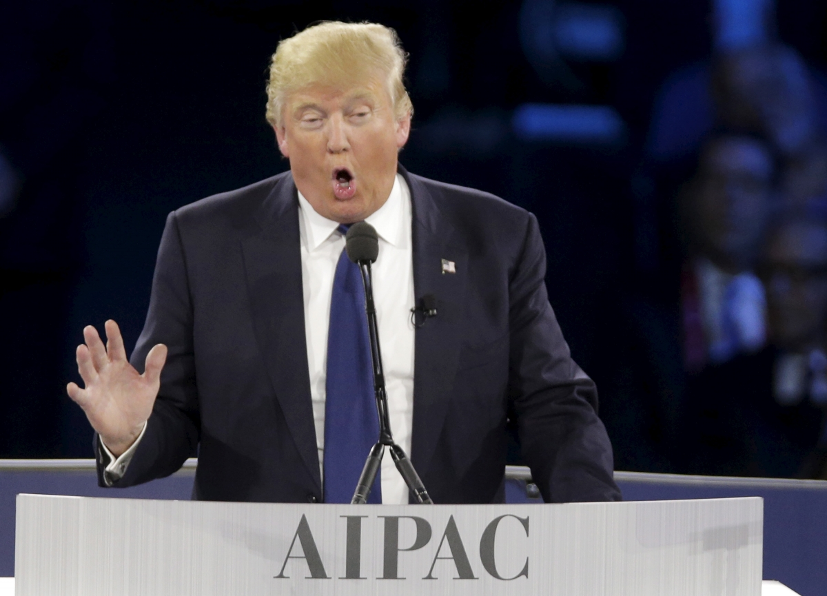 Donald Trump speaks at AIPAC conference