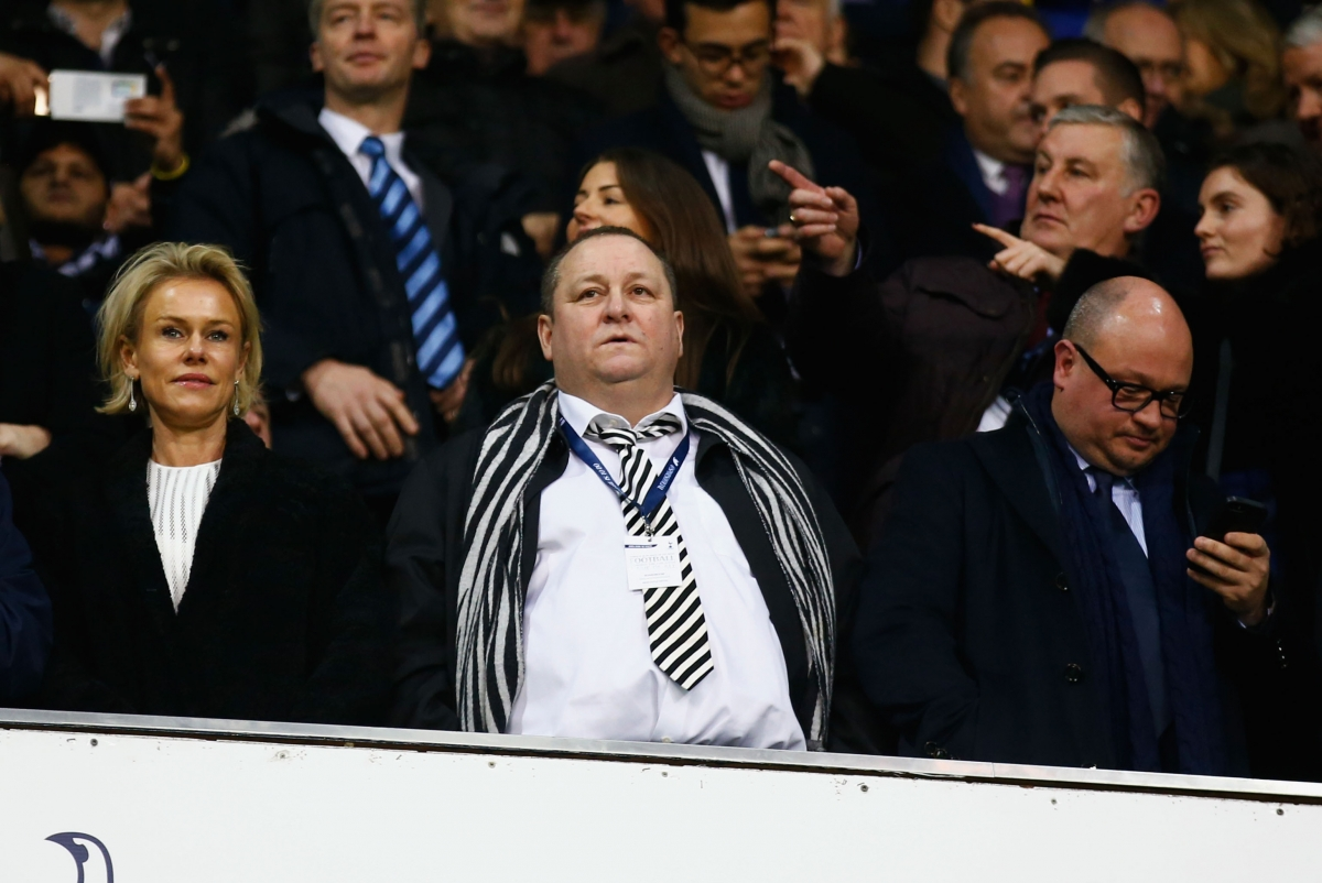 Mike Ashley (centre) watching Newcastle United
