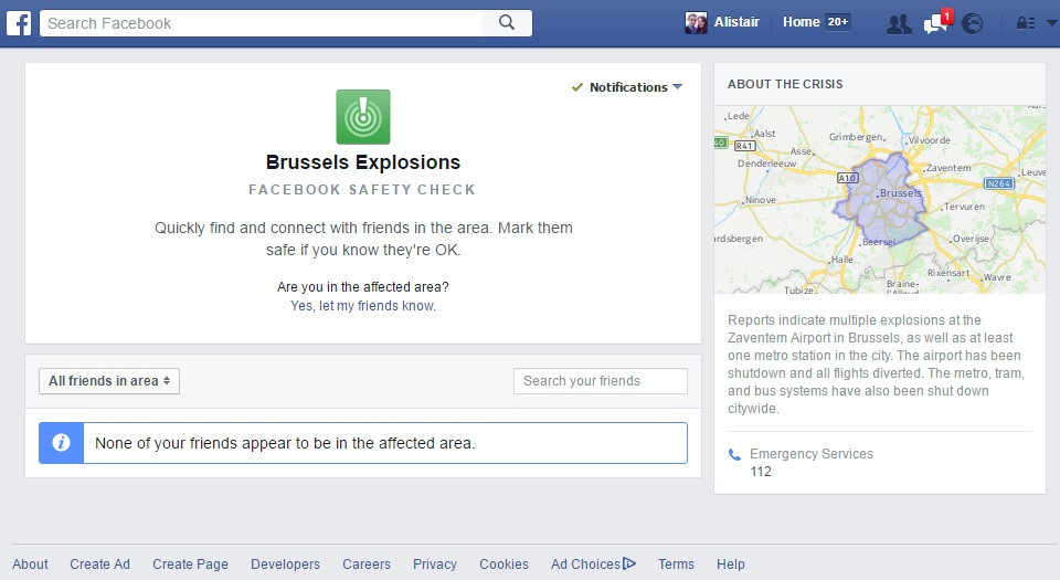 Facebook safety check Brussels