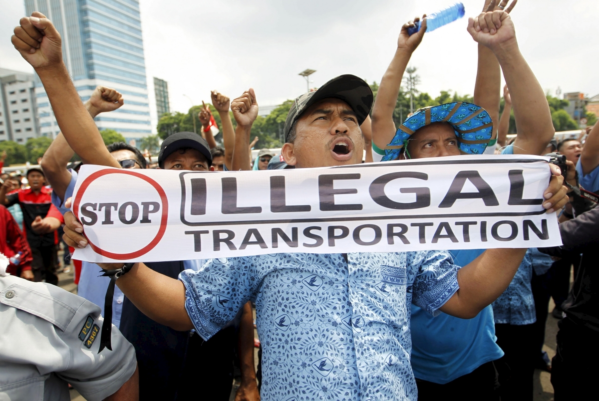 Jakarta taxi-drivers protest