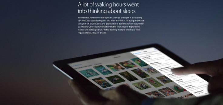 iOS 9.3 Night Shift mode