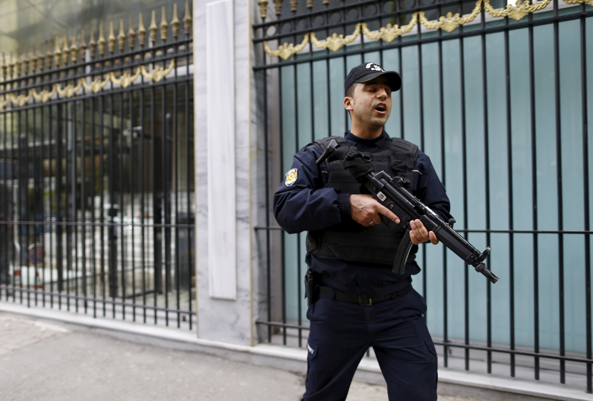A Turkish police officer stands guard outsidethe