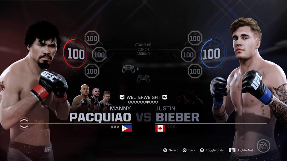 UFC EA Justin Bieber Manny Pacquiao
