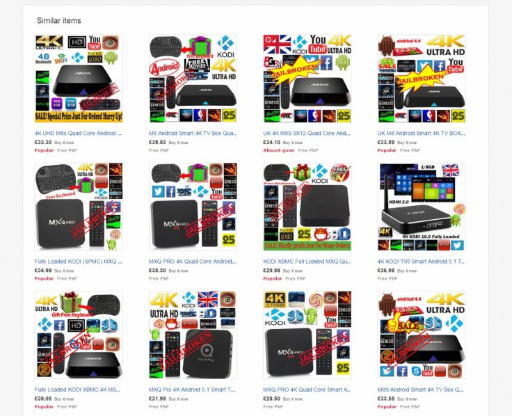 Jailbroken TV set top boxes on eBay