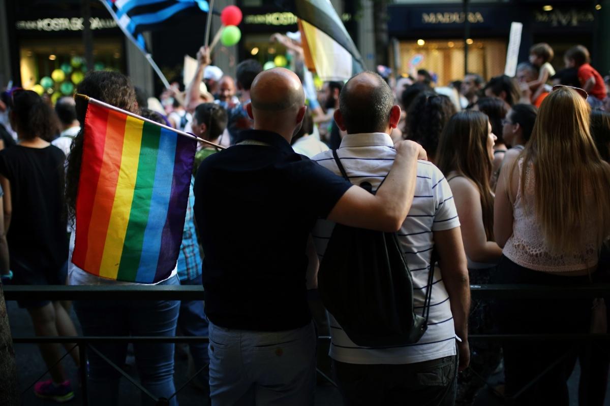 Two men at pride parade in Athens