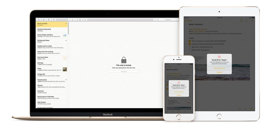 iOS 9.3,OS X El Capitan password-protected notes