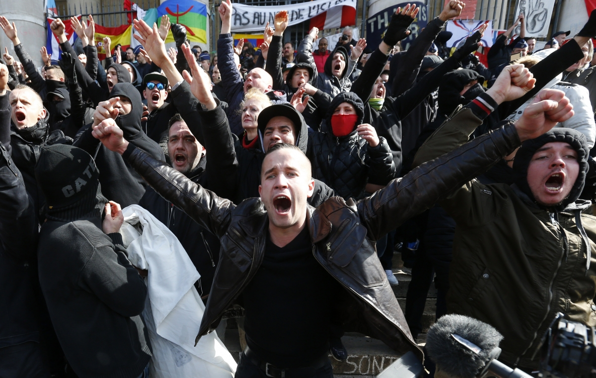 Right-wing protestors in Brussels