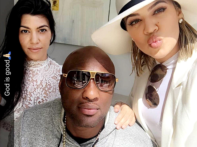 Kourtney and Khloe Kardashian with Lamar Odom