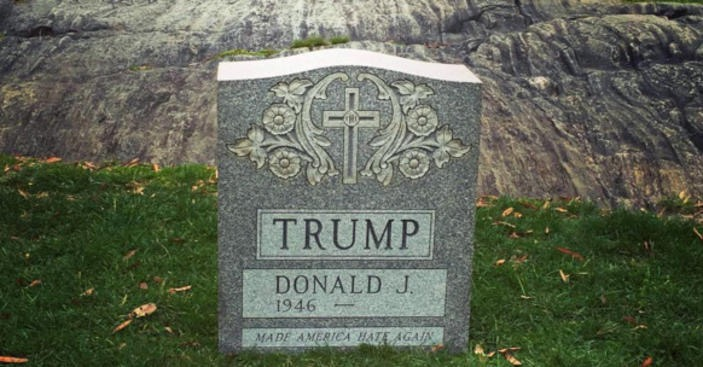 A carved tombstone popped in central park for donald trump