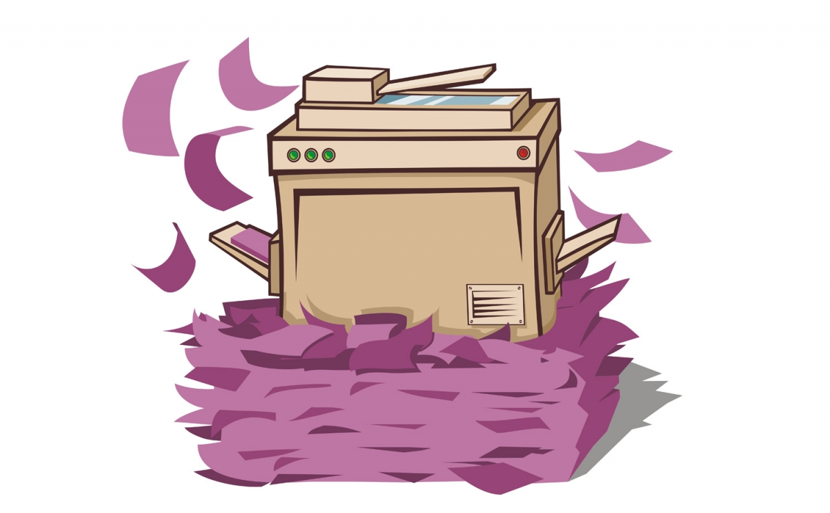 Printer spewing out paper