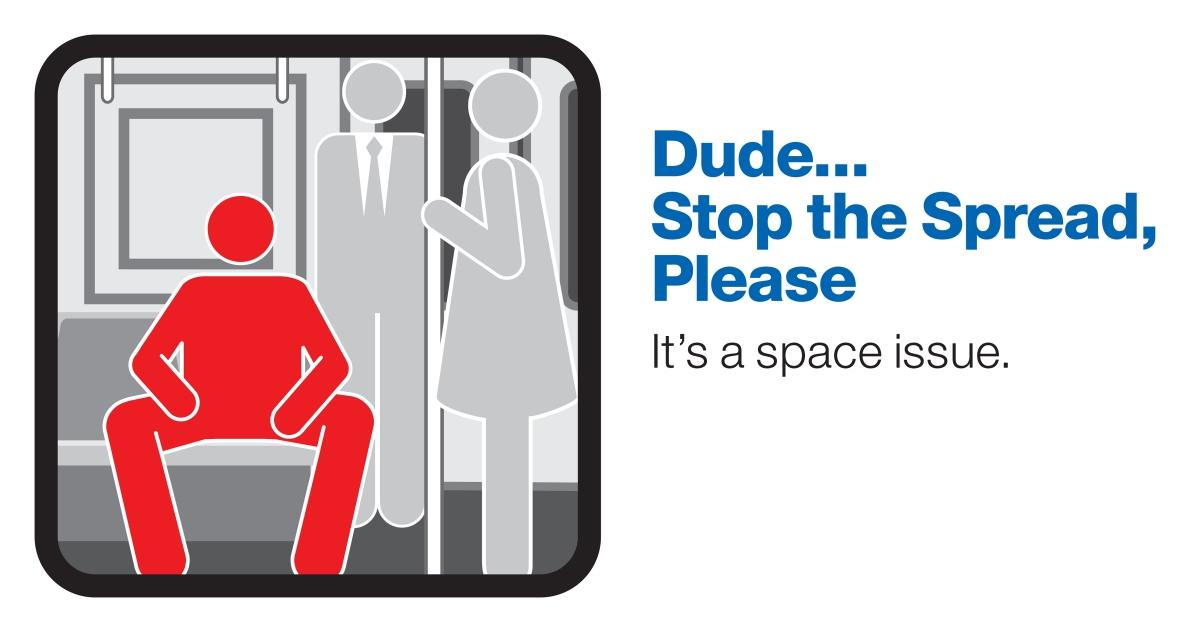 Manspreading ad from New York subway