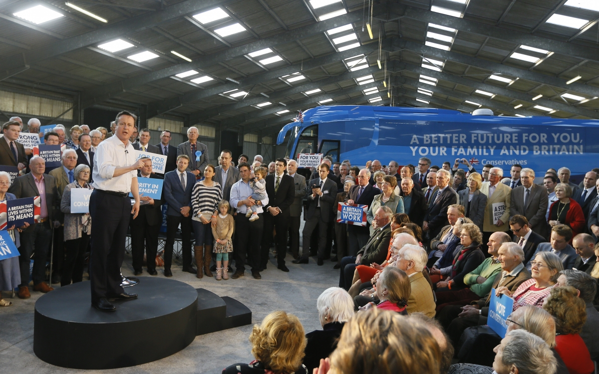 David Cameron and Conservative election bus