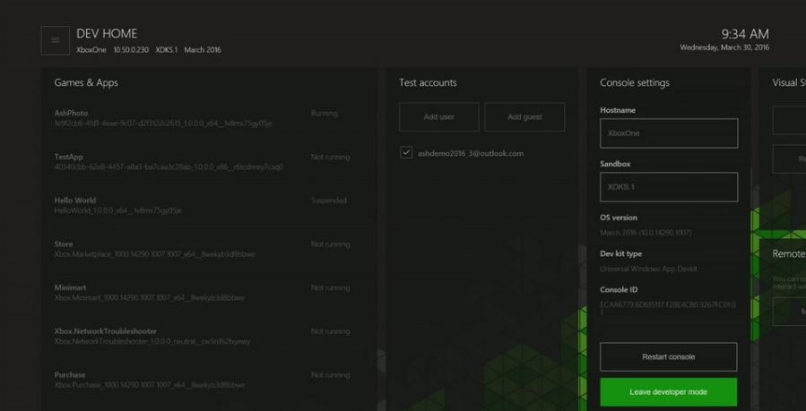 Xbox Dev Mode