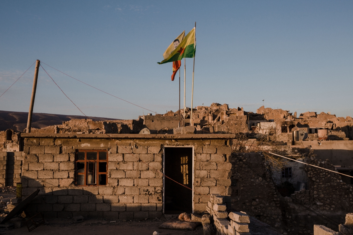 Sinjar Kurdish flags