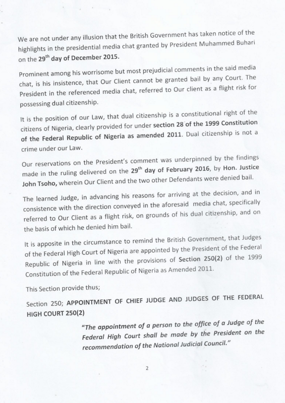 Ifeanyi Ejiofor's letter to British High Commission
