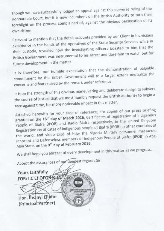 Ifeanyi Ejiofors letter to British High Commission