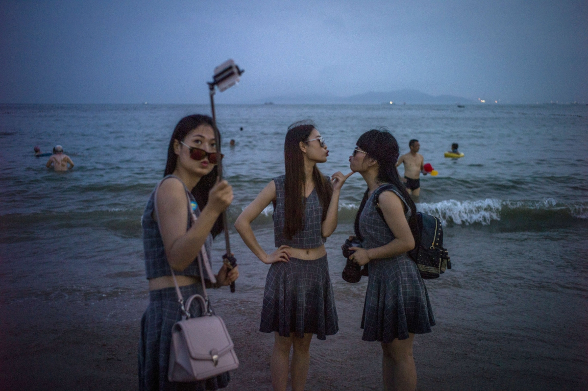 Chinese women take selfie