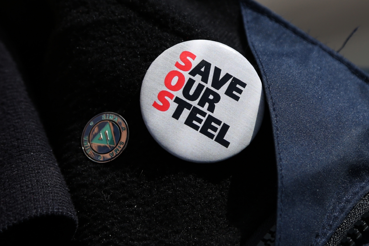 'Save Our Steel' badge