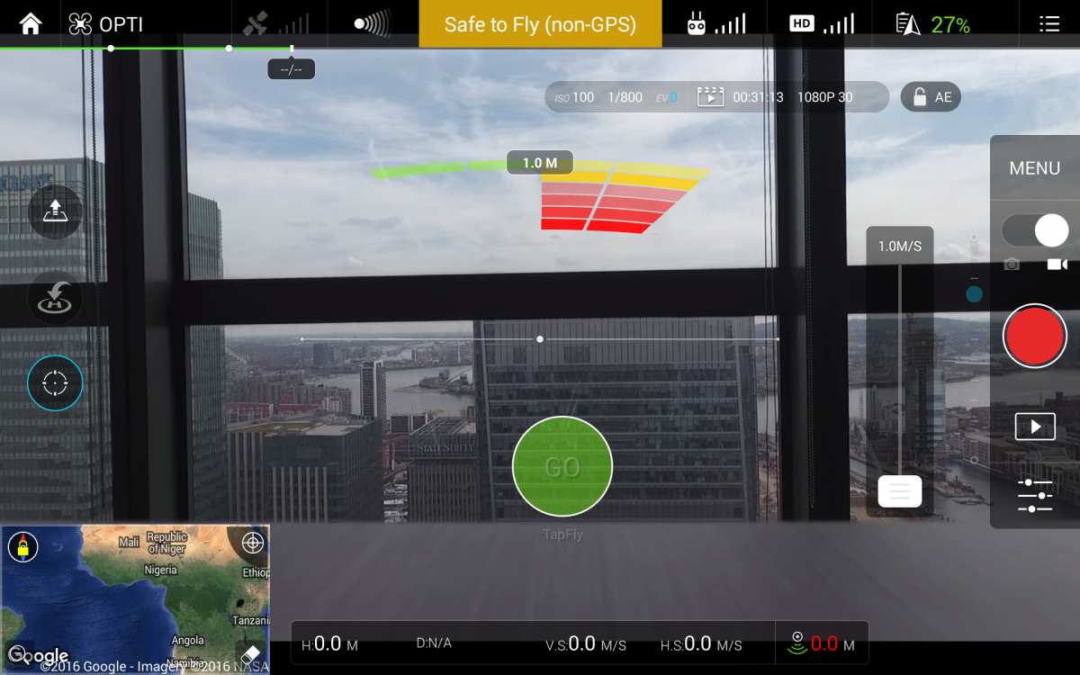 Live camera screen on DJI Go app
