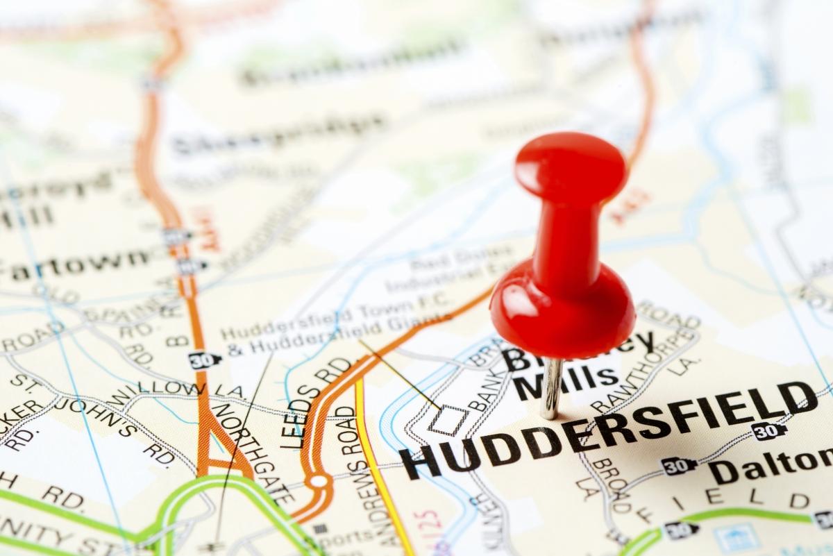 Huddersfield on map