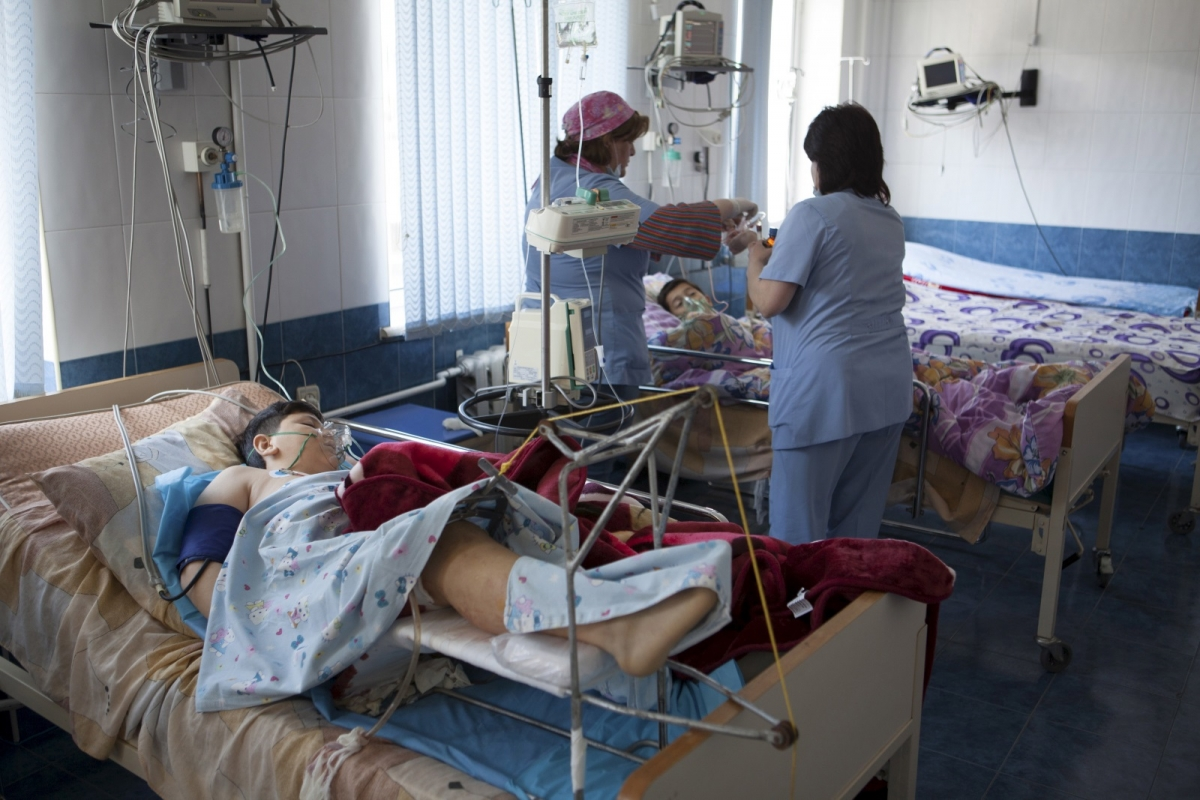 Wounded children in Nagorno-Karabakh conflict