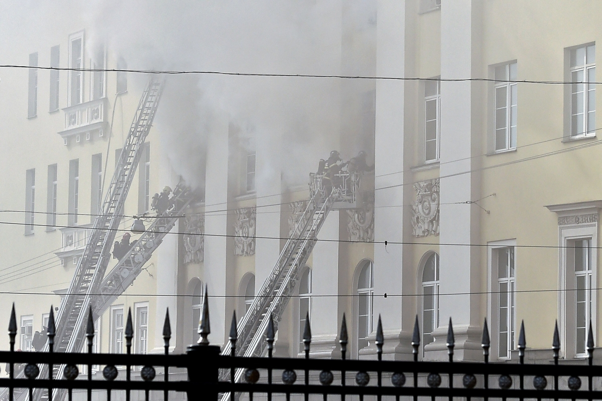 Russian firefighters battle the blaze in theMoscow