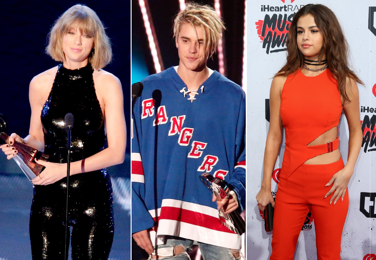 Taylor Swift, Justin Bieber and Selena Gomez