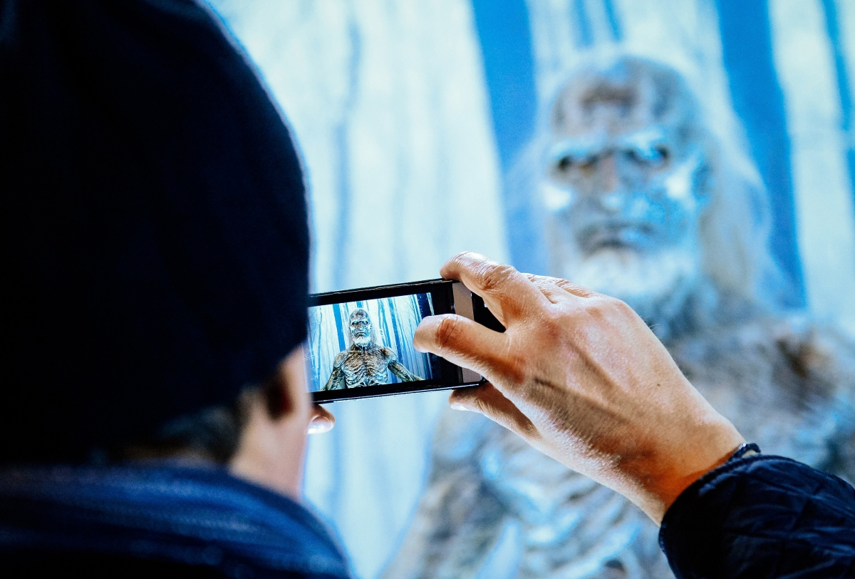 Visitor takes photo of artwork in Sweden