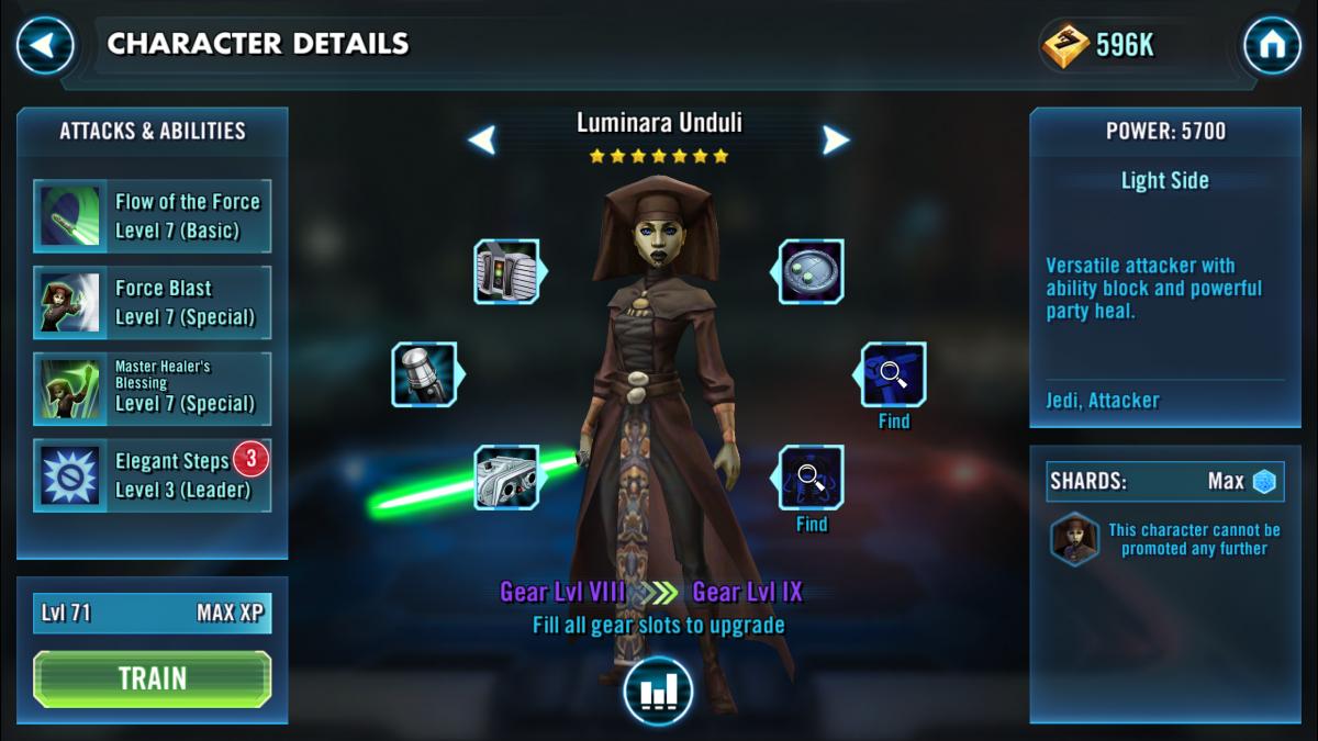 Star Wars Galaxy of Heroes Luminara Unduli